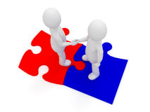 3d people shaking hands on puzzle pieces. Concept of business partnership and finding solutions Royalty Free Stock Photos