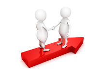 3d people shaking hands on red arrow Stock Photography