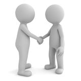 3d people shaking hands on white. Background Stock Image