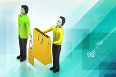 3d people with shopping bag Royalty Free Stock Photos