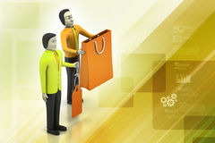 3d people with shopping bag Royalty Free Stock Images