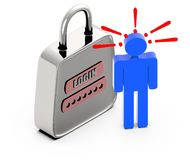 3d people sign and exclamation marks over it-pad lock with login text and password. 3d rendering royalty free illustration