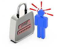 3d people sign and exclamation marks over it-pad lock with login text and password. 3d rendering stock illustration