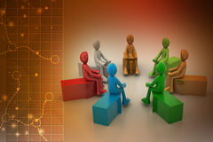 3d people sitting on the arrows Stock Photo
