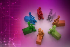 3d people sitting on the arrows Stock Photos