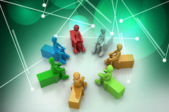 3d people sitting on the arrows Royalty Free Stock Images