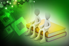 3d people sitting on the books Stock Photo