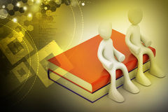 3d people sitting on the books Royalty Free Stock Photography