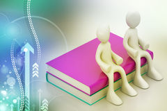 3d people sitting on the books Stock Photography