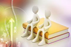 3d people sitting on the books Royalty Free Stock Images