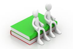 3d people sitting on the books Royalty Free Stock Photos