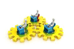 3d people sitting in the gear and chat with laptop. In white background Royalty Free Stock Photo