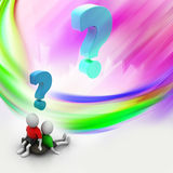 3d people sitting with question Royalty Free Stock Photography