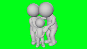 3D people - small family Royalty Free Stock Photos