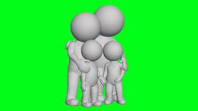 3D people - small family. Green screen stock illustration