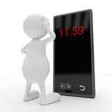 3D People with smart phone. On white background Stock Photos