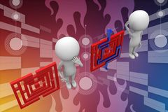 3d People With Solved And Unsolved Puzzle Illustration Stock Images