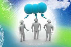 3d people  and speech bubbles. In color background Stock Photography