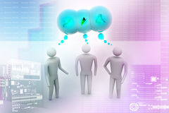3d people  and speech bubbles. In colour background Royalty Free Stock Images