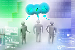 3d people  and speech bubbles. In colour background Stock Photos