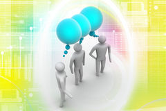 3d people  and speech bubbles. In colour background Stock Photography