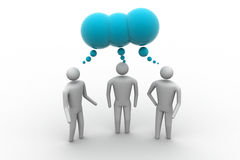 3d people  and speech bubbles. In white background Royalty Free Stock Image