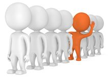3d people stand in line Royalty Free Stock Photography