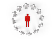 3d people stand in ring with one lying person Stock Image