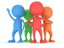 3d people stand on white. Business, teamwork, partnership concept Stock Image