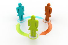3d people standing in arrow circle Royalty Free Stock Photo