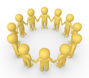 3d people standing in the circle and holding hands together. 3d render Stock Images