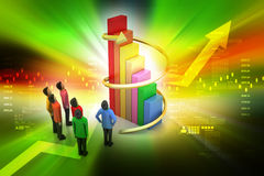 3d people standing beside the colorful business graph Stock Images