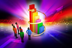 3d people standing beside the colorful business graph Royalty Free Stock Photos