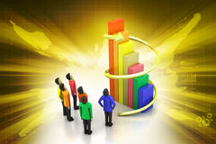3d people standing beside the colorful business graph Stock Photography