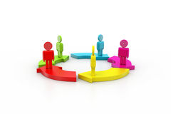 3d people standing. On the colourful arrows Stock Photo
