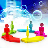 3d people standing on the colourful arrows. In color background Stock Photo