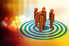 3d people standing on the dart board Royalty Free Stock Photography