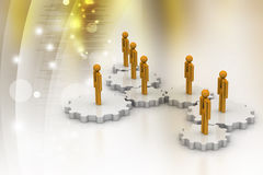 3d people standing on the gear Royalty Free Stock Image