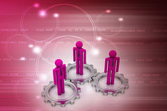 3d people standing the gear wheel Royalty Free Stock Photography