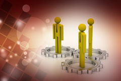3d people standing the gear wheel Stock Photos