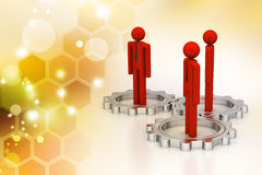 3d people standing the gear wheel Stock Photography