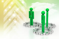 3d people standing the gear wheel Stock Photo