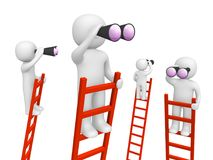 3d people standing on the ladders and looking through binoculars. 3d render Royalty Free Stock Image