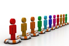 3d people standing the lifebuoy Stock Photography