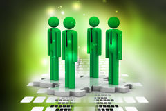 3d people standing on the puzzle Royalty Free Stock Photography