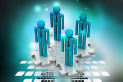3d people standing on the puzzle Stock Image