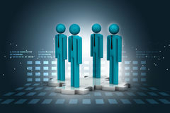 3d people standing on the puzzle Royalty Free Stock Image