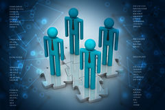 3d people standing on the puzzle Royalty Free Stock Photo