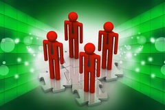 3d people standing on the puzzle Royalty Free Stock Images