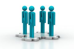 3d people standing on the puzzle Stock Images